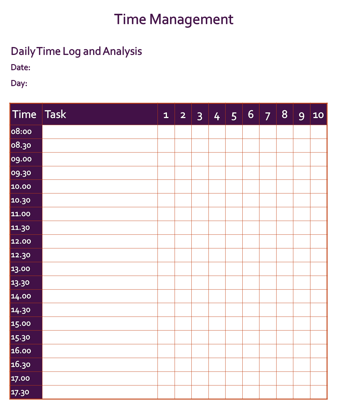 Daily Time Log